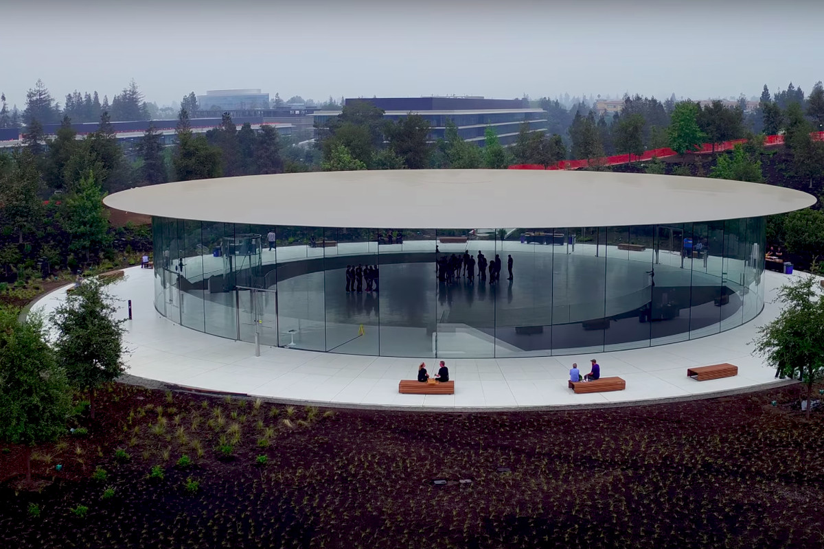 The Theater As Seen From Above In Latest Drone Video Of Apple Park Duncan SInfield YouTubeInside S New Steve Jobs Curbed SF