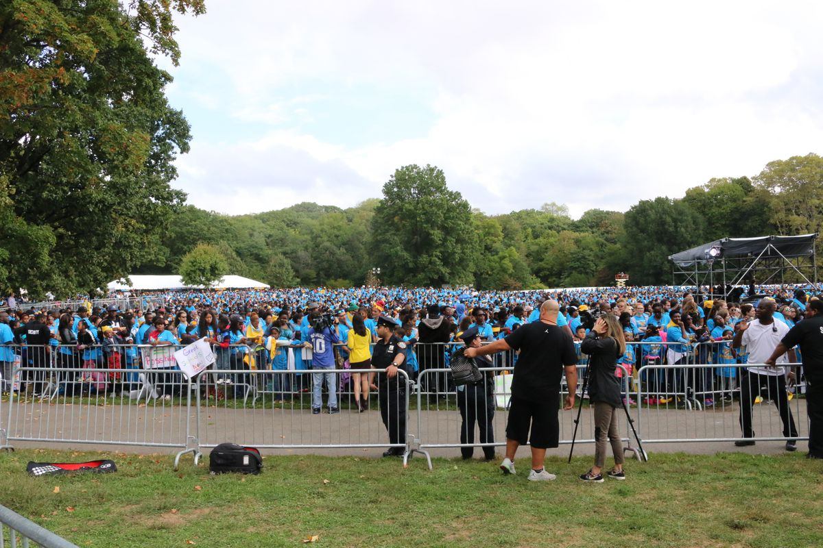 Thousands of families rallied in Prospect Park.