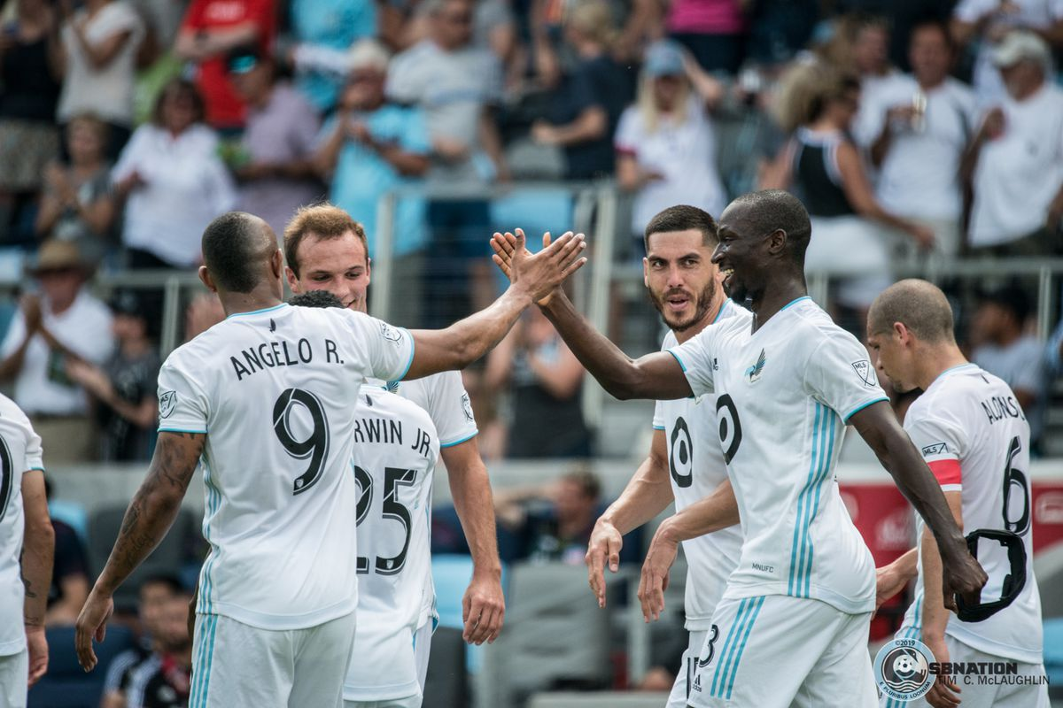 June 29, 2019 - Saint Paul, Minnesota, United States - Ike Opara celebrates a goal during an MLS match between Minnesota United FC and FC Cincinnati at Allianz Field