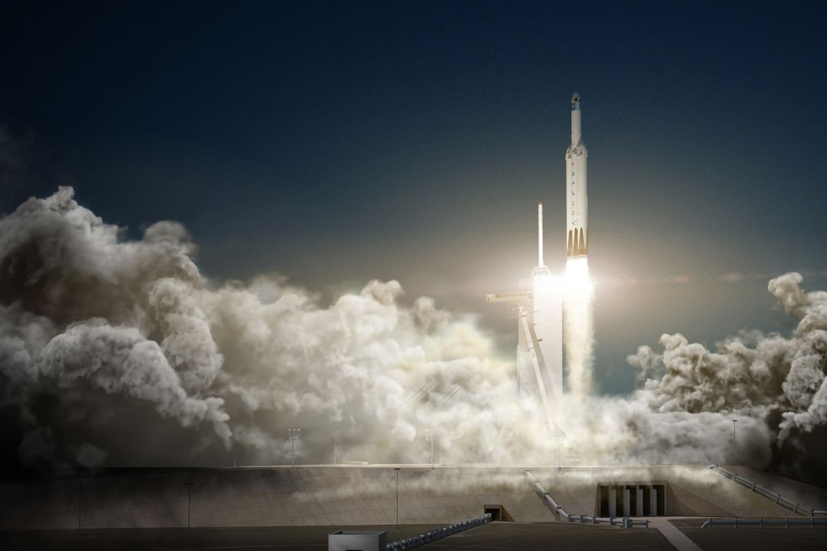 a rendering of the falcon heavy spacex