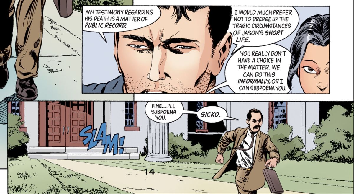 """At the door to Wayne Manor, Bruce Wayne refuses to talk to social worker Felix Desidero about the late Jason Todd. """"Fine..."""" Desidero mutters as he stalks away from the slammed door, """"I'll subpoena you. Sicko."""" From Batman: Gotham Knights #42, DC Comics (2003)."""