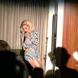 Rita Ora surprised the crowd with an exclusive performance at the Adidas Originals x Jeremy Scott annual rager.