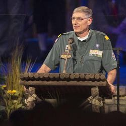 National President, Boy Scouts of America, Wayne Perry announces President Thomas S. Monson as the recipient of The Honor Medal. Thousands of scouts and their leaders assemble Tuesday, Oct. 29, 2013 in the Conference Center in Salt Lake City to celebrate a century of honor.
