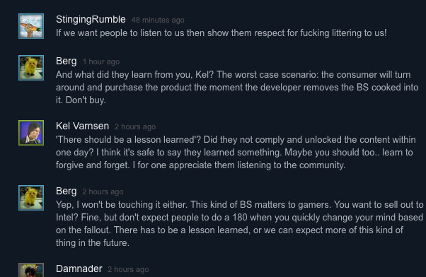 Steam users enraged over Intel-exclusive content in game