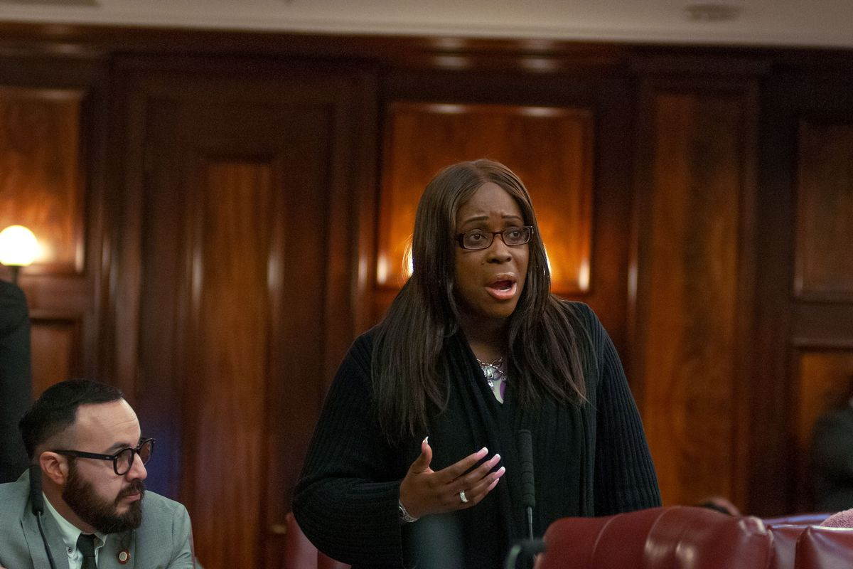 Councilmember Vanessa Gibson (D-The Bronx) speaks at a 2019 City Council meeting.