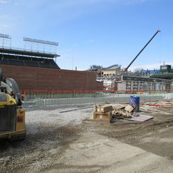 View of footings along right-field wall -