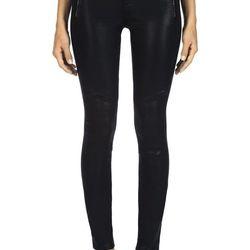 "<b>J Brand</b> coated jeans, <a href=""http://www.jbrandjeans.com/8046_Tabitha_in_Lacquered_Black_Quartz/pd/cl/7261/np/94/p/3384.html"">$268</a>"