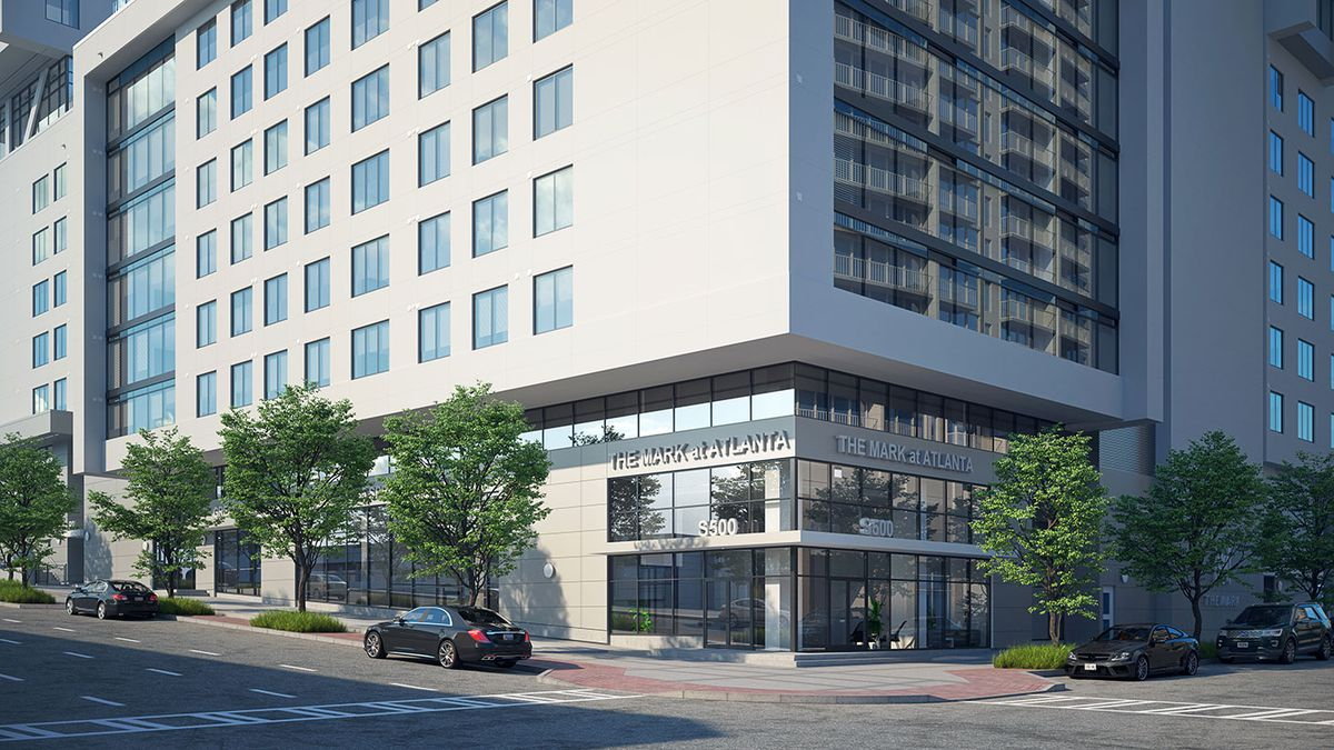 """A rendering shows the ground floor of the tower, which has the words """"The Mark at Atlanta"""" above the entrance."""