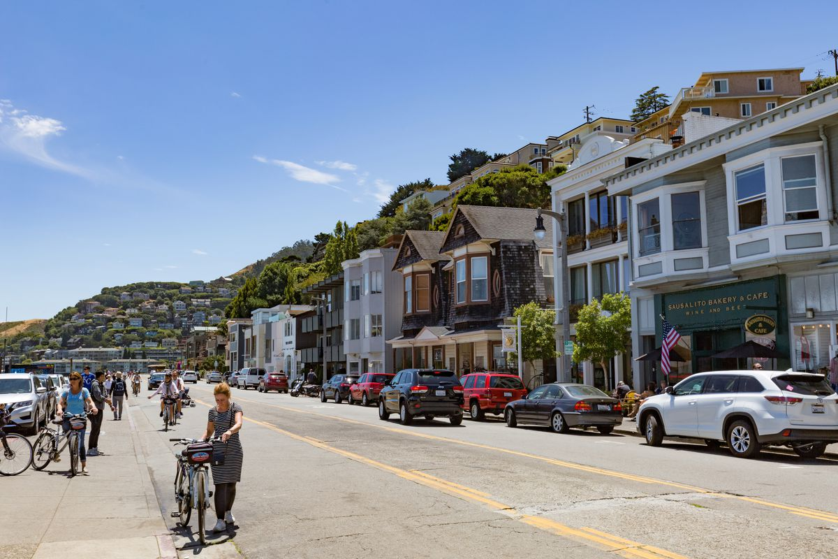 Homes and stores along Bridgeway Street in the city of Sausalito.