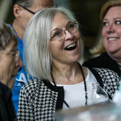 Dr. Kathie Allen, candidate for the 3rd Congressional District, talks to conventiongoers at the Utah Democratic Party State Organizing Convention at Weber State University in Ogden on Saturday, June 17, 2017.