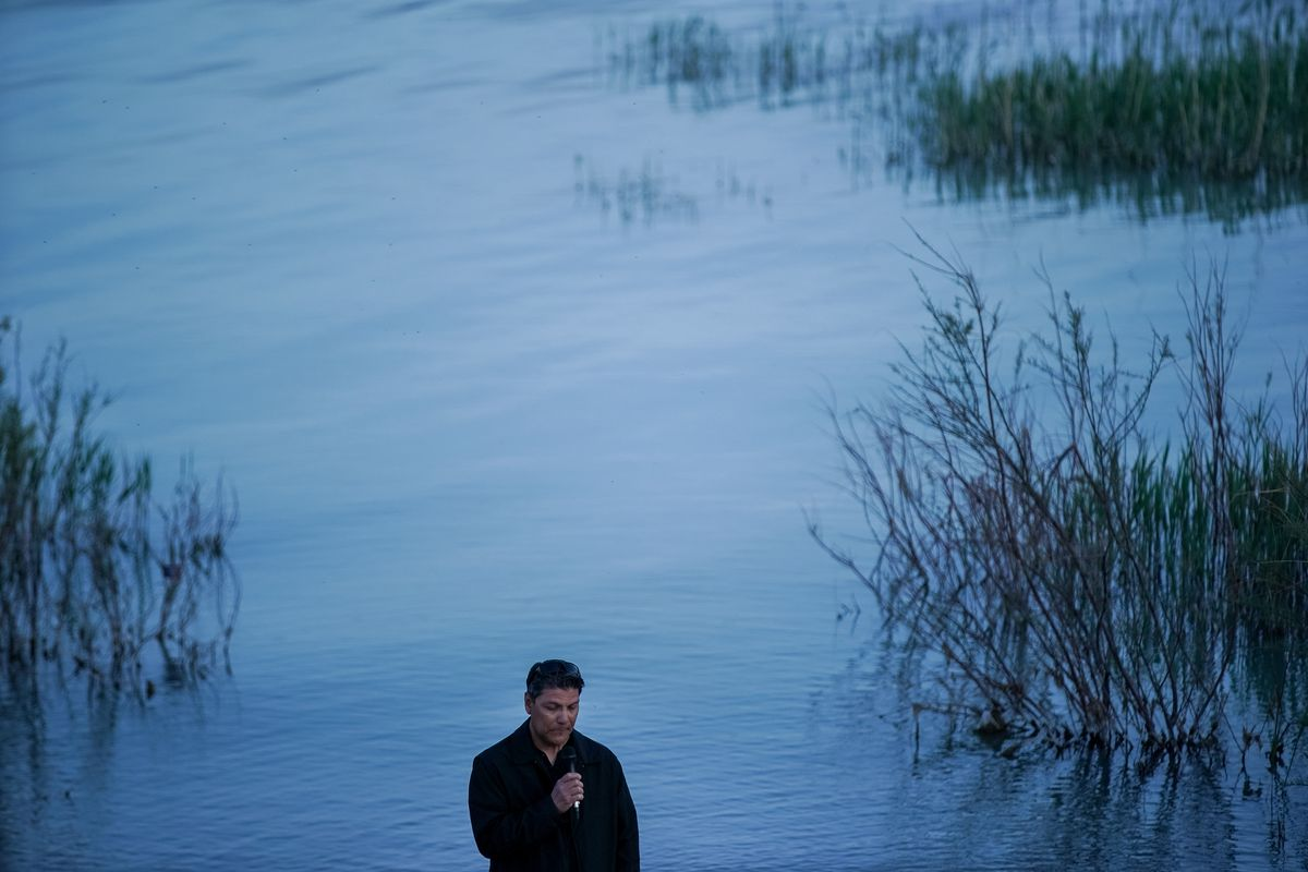 Jimmy Hernandez speaks to people gathered for a vigil for his daughter, Sophia Hernandez, and Priscilla Bienkowski on the west side of Utah Lake on Saturday, May 9, 2020. The two teenagers have been missing since going to the lake Wednesday afternoon.
