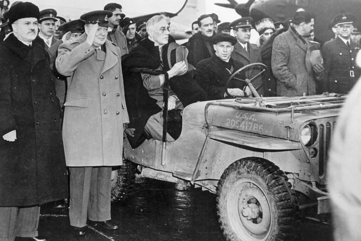 FDR in a Jeep after arriving at Yalta.