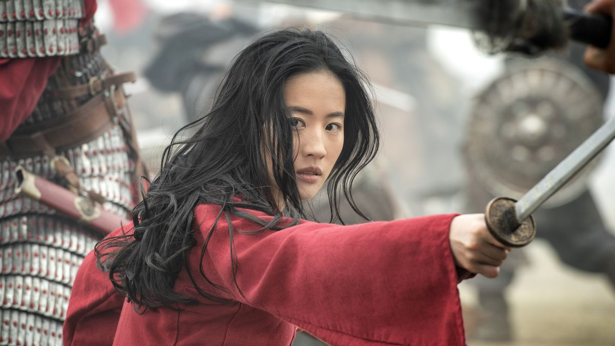 Mulan holds a sword and a sharp glance