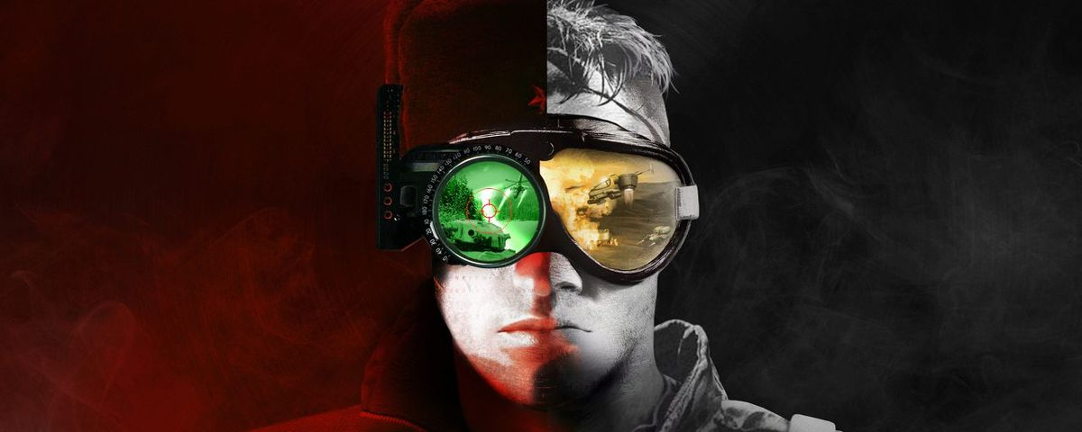 A soldier stares at you with scenes from the game reflected in his glasses