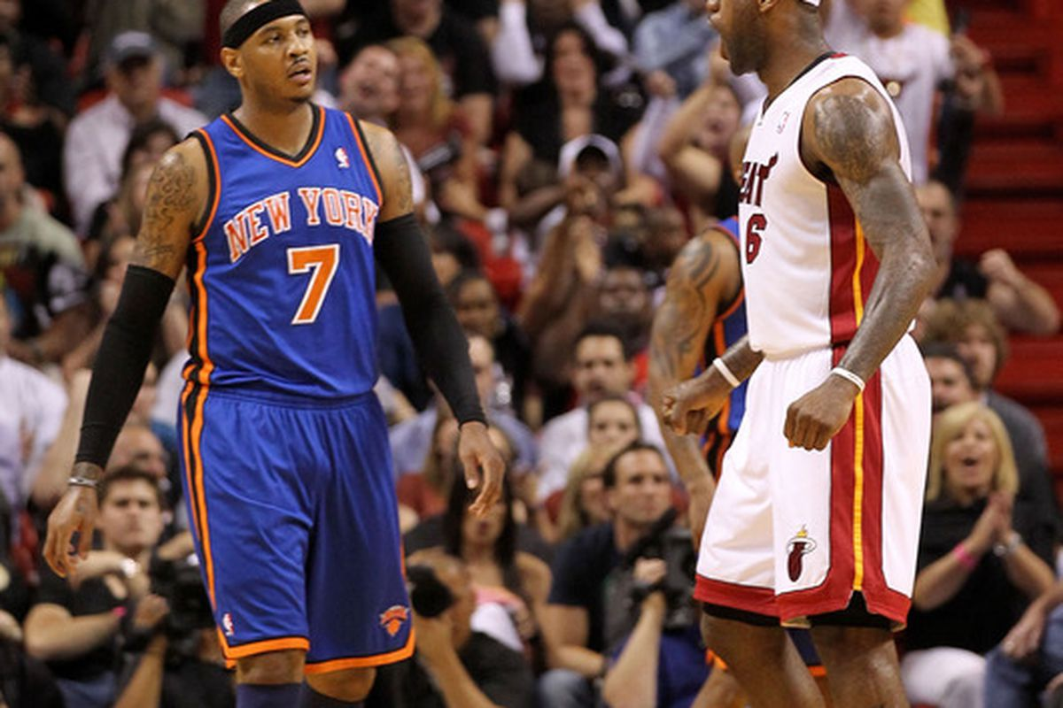 Carmelo Anthony and LeBron James.  (Photo by Mike Ehrmann/Getty Images)