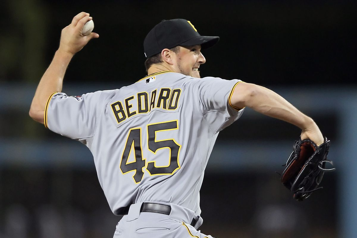 LOS ANGELES, CA - APRIL 11:  Erik Bedard #45 of the Pittsburgh Pirates pitches against the Los Angeles Dodgers in the fourth inning at Dodger Stadium on April 11, 2012 in Los Angeles, California.  (Photo by Jeff Gross/Getty Images)