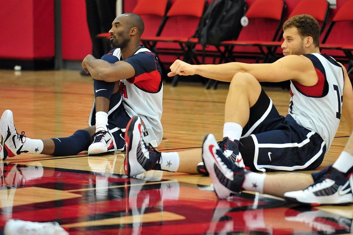July 10, 2012; Las Vegas, NV, USA; Team USA guard Kobe Bryant (left) and forward Blake Griffin during practice at the UNLV Mendenhall Center. Mandatory Credit: Gary A. Vasquez-US PRESSWIRE