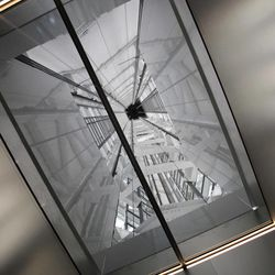 The tower structures of the Tokyo Sky Tree are seen through the top window of the elevator on the way to the 450-meter (1,476 feet)-high observation deck during a press preview in Tokyo Tuesday, April 17, 2012. The world's tallest freestanding broadcast structure that stands 634-meter (2,080 feet) will open to the public in May.
