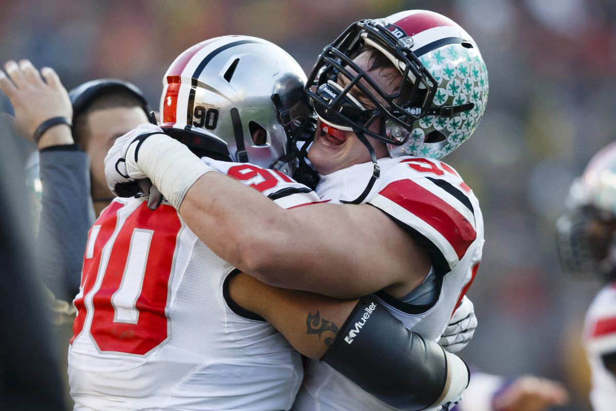 Ohio State players celebrate after their 42-41 win over Michigan in Ann Arbor.