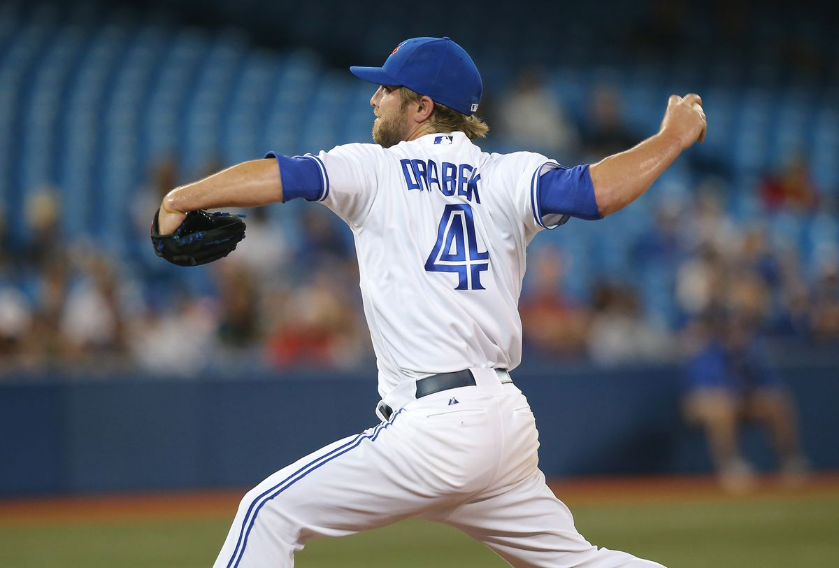 Kyle Drabek pitches in a Tampa Bay Rays v Toronto Blue Jays game.