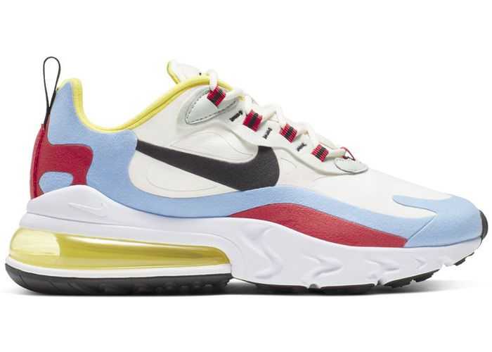 Sneaker with blue, red, yellow upper