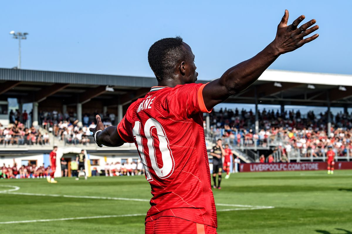Liverpool V Sadio Mane of Liverpool with his arms outstretched, appealing for a foul during the Pre Season friendly match between Liverpool and FSV Mainz 05 on July 23, 2021.SV Mainz 05: Pre-Season Friendly