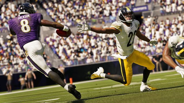 Baltimore Ravens quarterback Lamar Jackson juking a Pittsburgh Steelers defender in Madden NFL 21