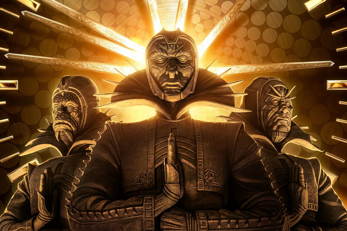 Promotional art of the three Time-Keepers from Loki.