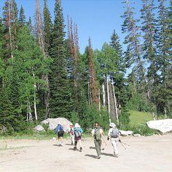 2. Hikers leave the Solitude parking area for the meadow. The trail goes below the Eagle Express chairlift. This trail isn't posted.