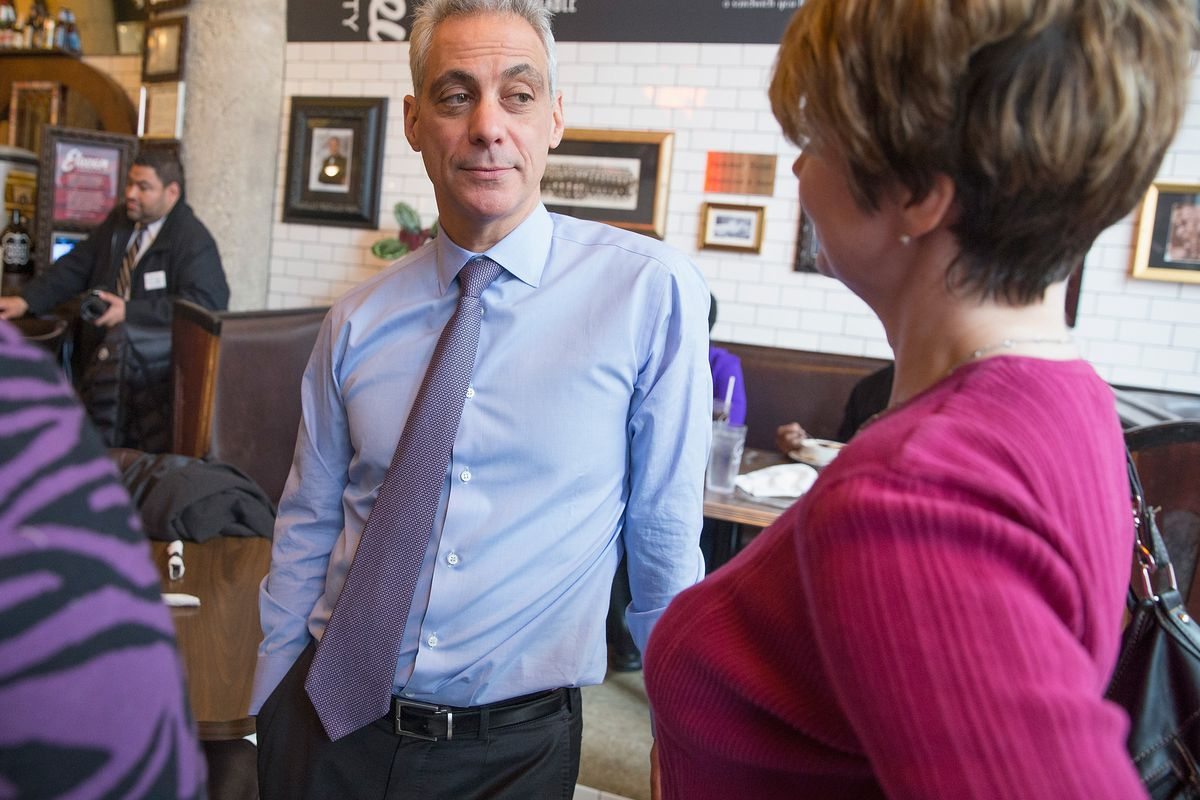 Chicago Mayor Rahm Emanuel at Eleven City Diner in the South Loop.
