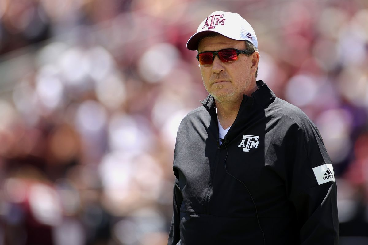 Head coach Jimbo Fisher of the Texas A&M Aggies looks on during the first half of the spring game at Kyle Field on April 24, 2021 in College Station, Texas.