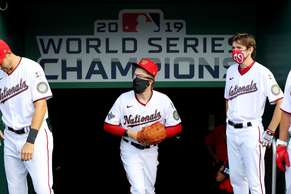 Sean Doolittle of the Washington Nationals looks on from the dugout prior to the game between the New York Yankees and the Washington Nationals at Nationals Park on Thursday, July 23, 2020 in Washington, District of Columbia.