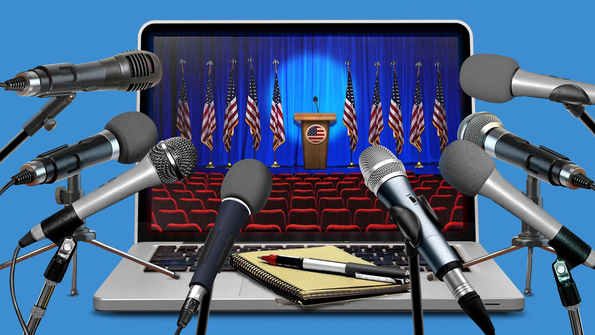 An illustration of numerous microphones surrounding a laptop displaying a political event in an empty auditorium.