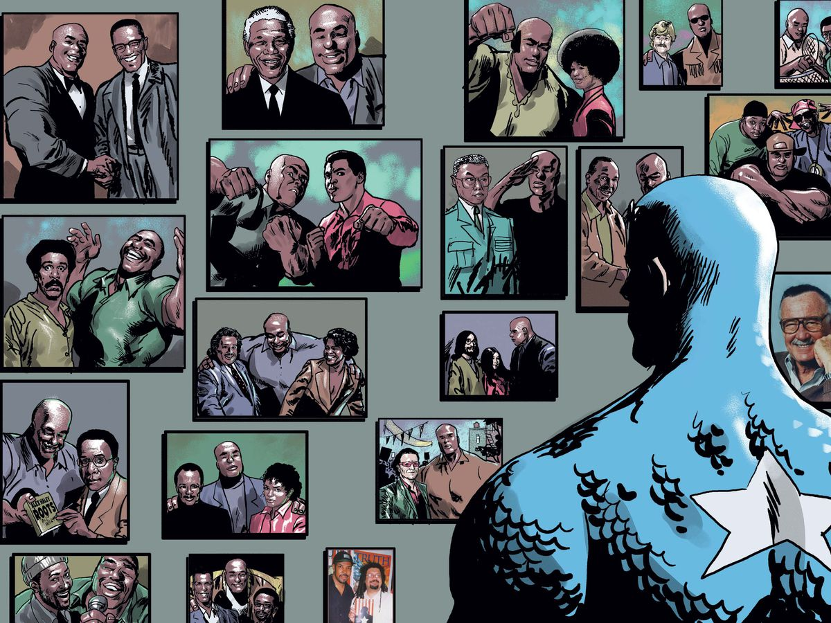 Steve Rogers/Captain America looks at a wall of photos of mostly Black celebrities and historical figures posing happily and worshipfully with Isaiah Bradley, in Truth: Red, White & Black, Marvel Comics (2003).