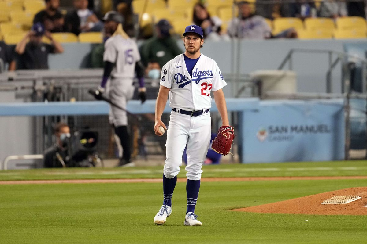 Los Angeles Dodgers pitcher Trevor Bauer reacts during the second inning against the Colorado Rockies at Dodger Stadium.