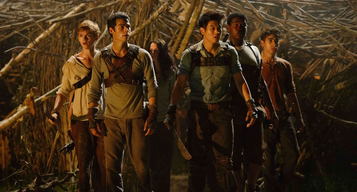 Maze Runner is a Maze Runner, standing together as if scared
