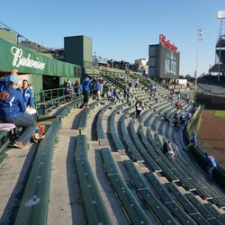 The right field bleachers just after the gates opened