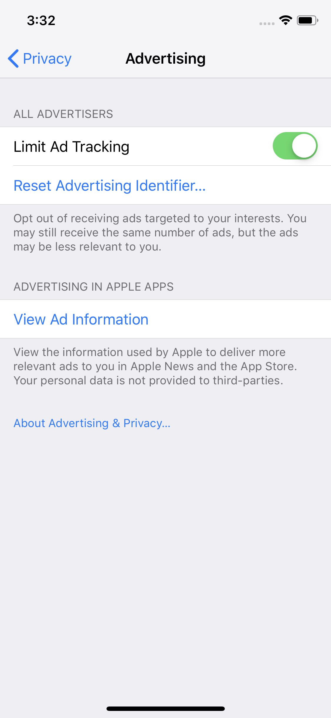 iphone limit ad tracking