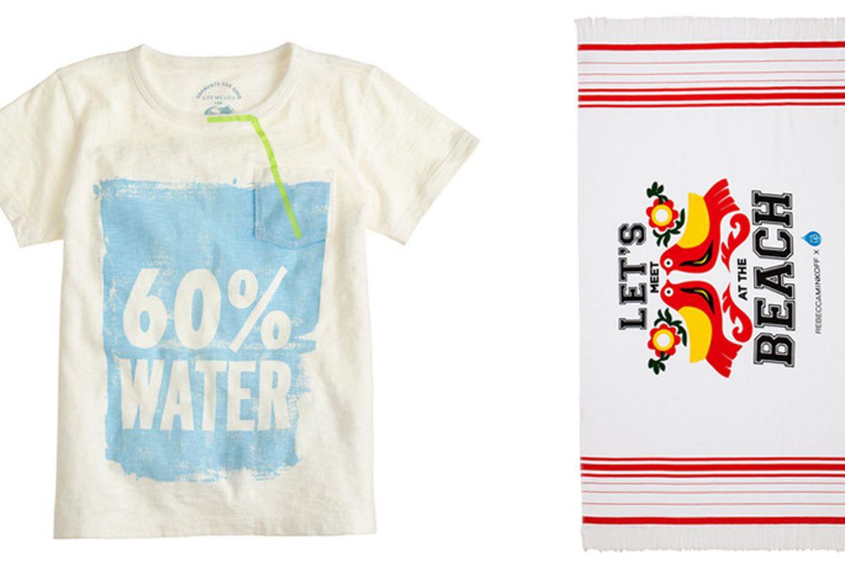 "Kids' Crewcuts for Drink Up tee, <a href=""https://www.jcrew.com/girls_special_shops/garmentsforgood/PRDOVR~A8554/A8554.jsp"">$25;</a> Rebecca Minkoff beach towel, <a href=""http://www.rebeccaminkoff.com/shop/drink-up-beach-towel-white.html"">$58</a>"
