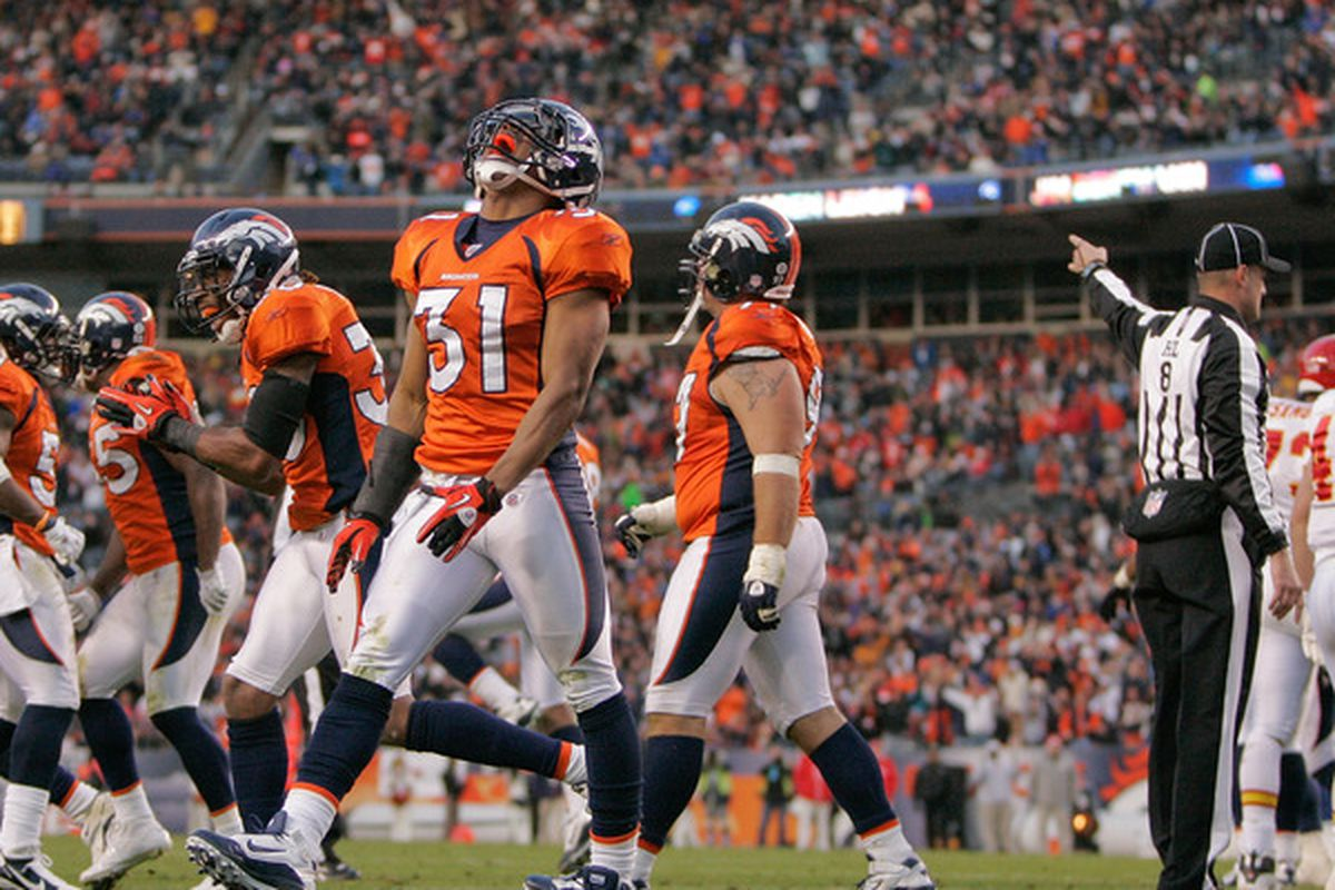 Safety Darcel McBath #31 of the Denver Broncos expresses his excitement after stopping the Kansas City Chiefs on 4th and Goal at the 1-yard-line. The Broncos beat the Chiefs 49-29.