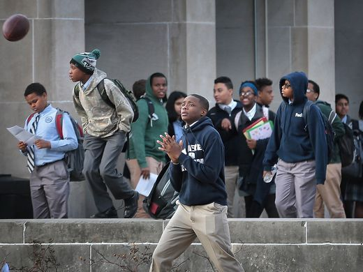 Students leave the Catholic High School in Memphis at the end of the school day. The entire Memphis Catholic Jubilee Schools network, along with St. Michael Catholic School, will close at the end of the 2018-19 school year unless New Day Schools is approved as a charter operator.