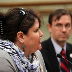 Laura Anderson speaks during a House Judiciary Committee meeting concerning HB101 at the Capitol in Salt Lake City on Wednesday, Feb. 3, 2016. HB101 is a bill that would eliminate the requirement that some wards be represented by an attorney in guardianship proceedings. At right is Rep. Fred Cox, R-West Valley City.
