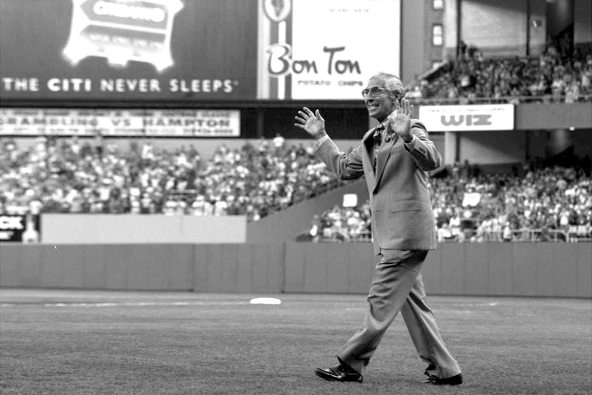 Phil Rizzuto at Yankee vs Baltimore game.
