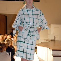 Ivory silk shibori plaid jacket, ivory cotton silk shantung green shibori plaid skirt on Coco Rocha.