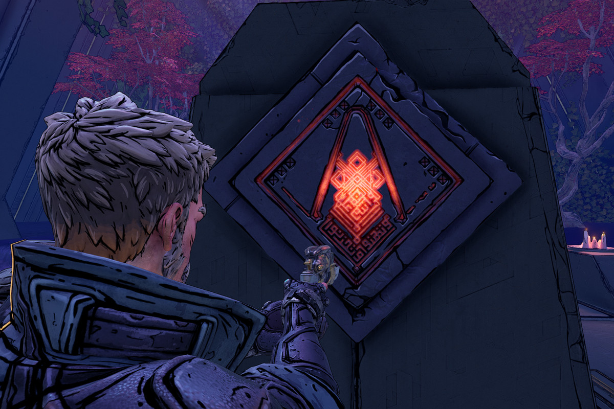 A Borderlands 3 players stands in front of an Eridian slab