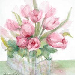 """Pink Tulips,"" Nola deJong Sullivan, at Terra Nova Gallery."