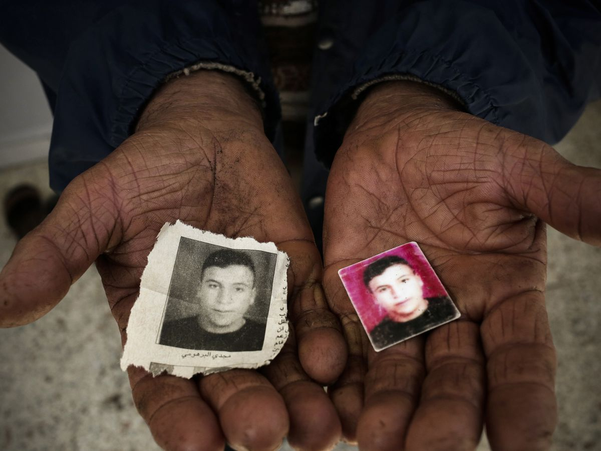 April 15: A migrant child's jacket found in the southern port town of Zarzis, Tunisia. The father of Majdi Al Barhoumi, who went missing in 2011, holds photos of him, at their home in the town of Ras Jabal, Bizerte, Tunisia. As global migration has soared