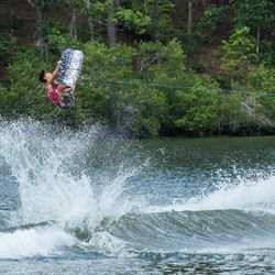 Harley Clifford competes in the finals of the 2017 Supra Pro Wakeboard Tour event at Oak Mountain State Park near Birmingham, Alabama.