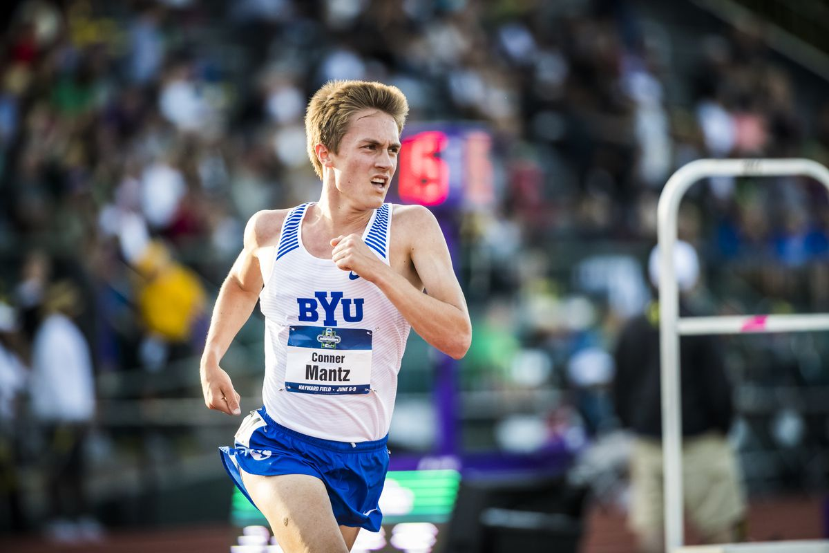 BYU's Conner Mantz competes in the 10,000-meter race at the 2018 NCAA Outdoor Track and Field Championships.