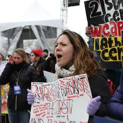 Protesters cheer at the March for Our Lives rally in Union Park on Saturday. | Ashlee Rezin/Sun-Times